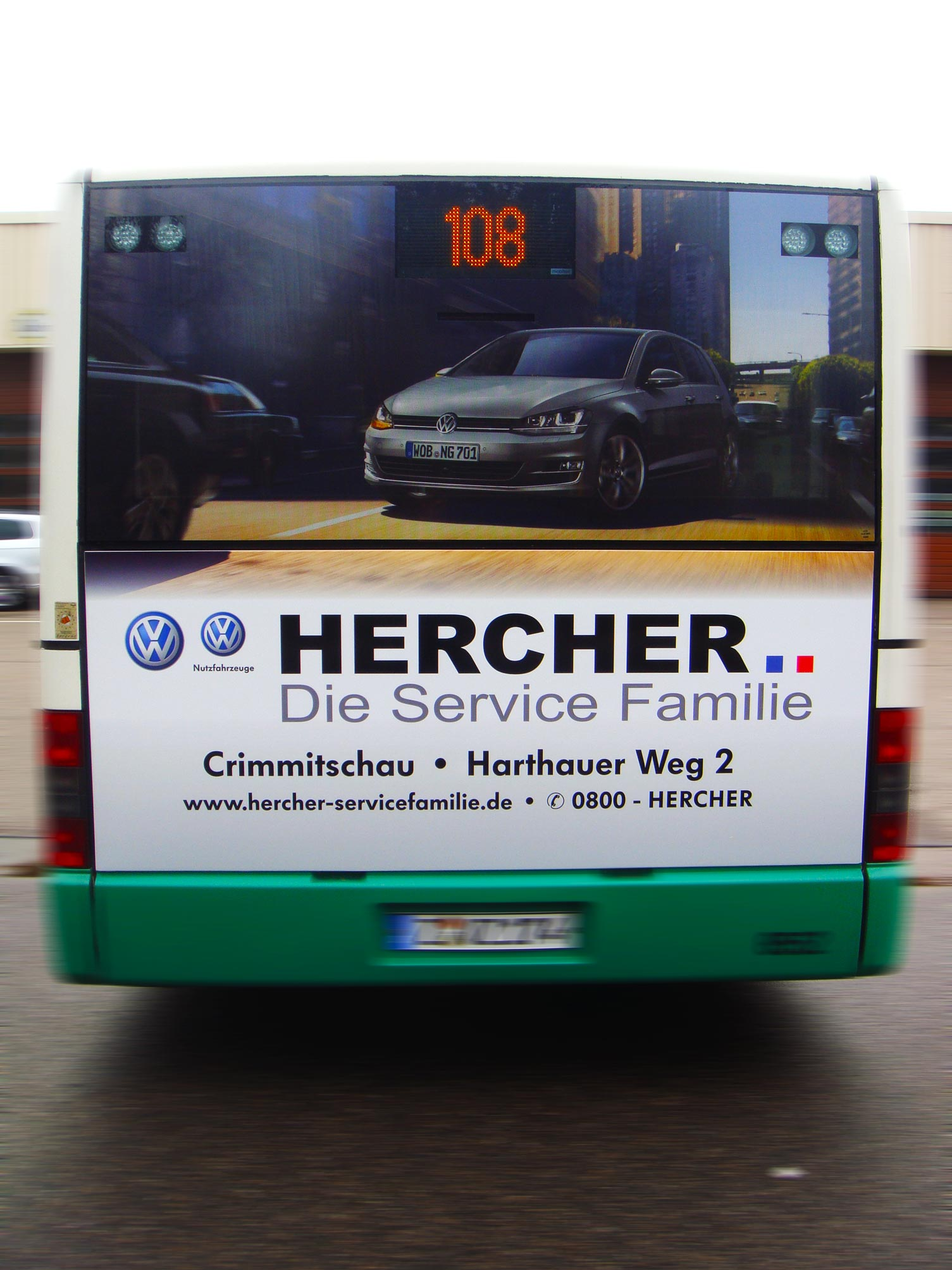 Buswerbung - VW Hercher - Heck